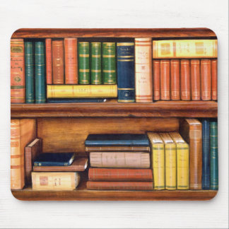 Estante antiguo Mousepad de la biblioteca de los l Tapetes De Raton