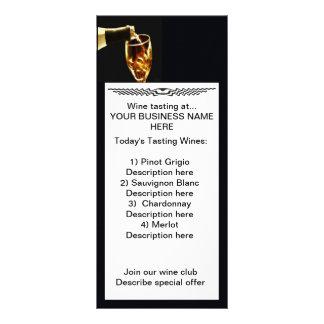 estante de la degustación de vinos tarjeta publicitaria