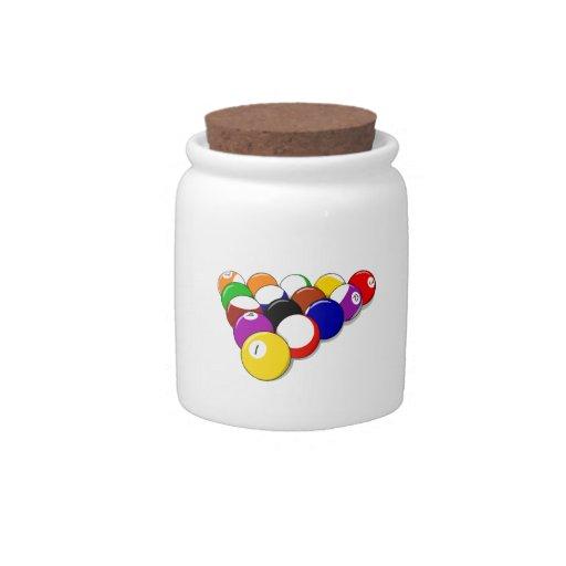 Estante de las bolas de piscina jarras para caramelos