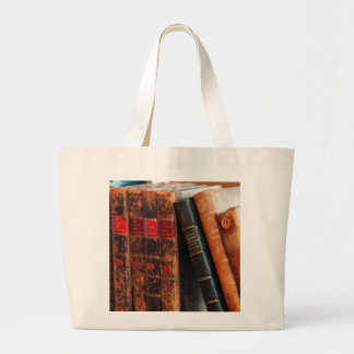 Estante de libros antiguo rústico de la biblioteca bolsa tela grande