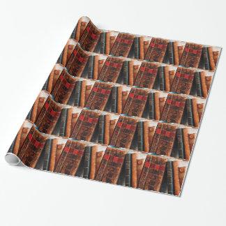 Estante de libros antiguo rústico de la biblioteca papel de regalo