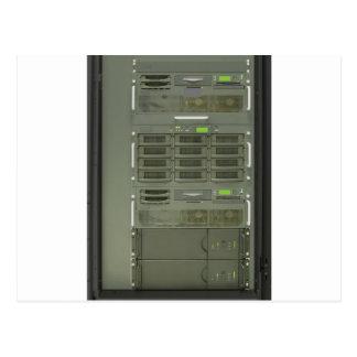 estante de los servidores del ordenador del tarjetas postales