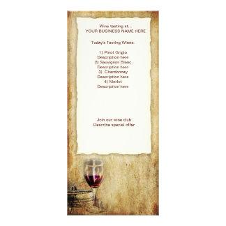 estante de tarjeta de la degustación de vinos tarjeta publicitaria a todo color