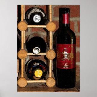 Estante del vino póster