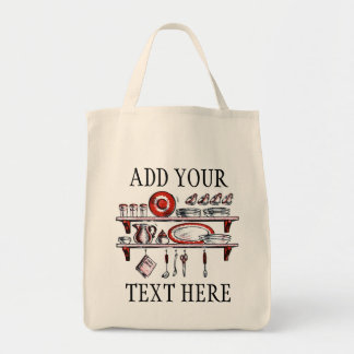 Estante retro de la cocina del país en blanco y bolsa tela para la compra