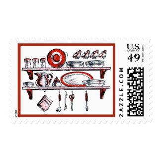 Estante retro de la cocina en blanco y rojo negros sellos postales
