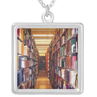 Estantes de la biblioteca collar plateado