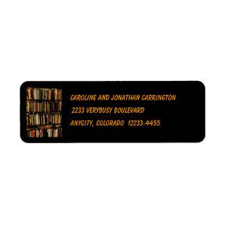 Estantes de librería etiqueta de remite