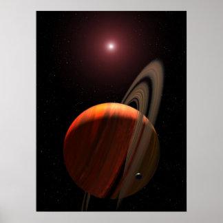 Estar en órbita una estrella enana roja póster