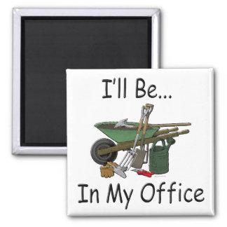 Estaré en mi oficina imán de frigorífico