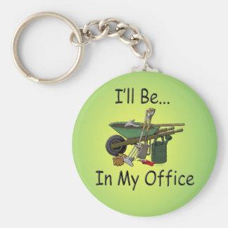 Estaré en mi oficina llavero redondo tipo pin