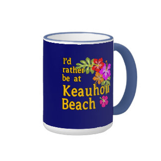 Estaría bastante en la playa de Keauhou, Hawaii Taza De Dos Colores