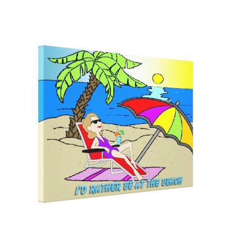 """Estaría bastante en la playa - mujer 36"""" x24"""" lienzo envuelto para galerias"""
