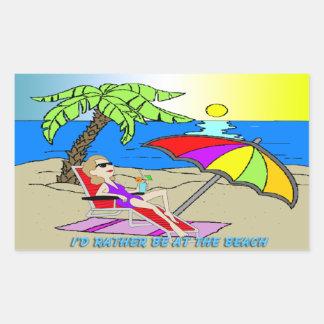 Estaría bastante en la playa - palillo del pegatina rectangular