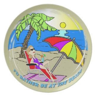 Estaría bastante en la playa - placa de la mujer plato
