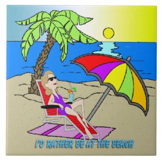 Estaría bastante en la playa - teja/Trivet de la m Azulejo Cuadrado Grande