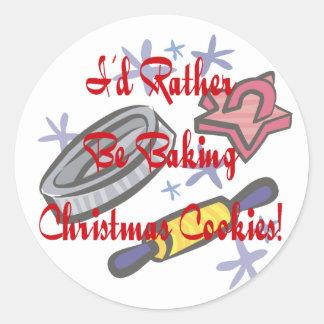 Estaría cociendo bastante las galletas del navidad pegatina redonda