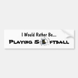 Estaría jugando bastante a softball pegatina para auto