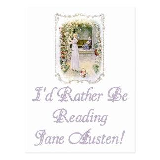 Estaría leyendo bastante la postal de Jane Austen