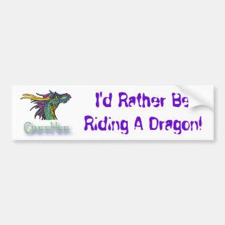 ¡Estaría montando bastante un dragón! Pegatina Para Auto