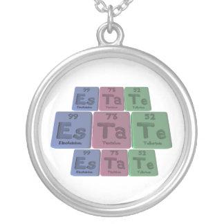 Estate-Es-Ta-Te-Einsteinium-Tantalum-Tellurium.png Round Pendant Necklace