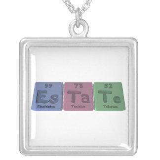 Estate-Es-Ta-Te-Einsteinium-Tantalum-Tellurium.png Square Pendant Necklace