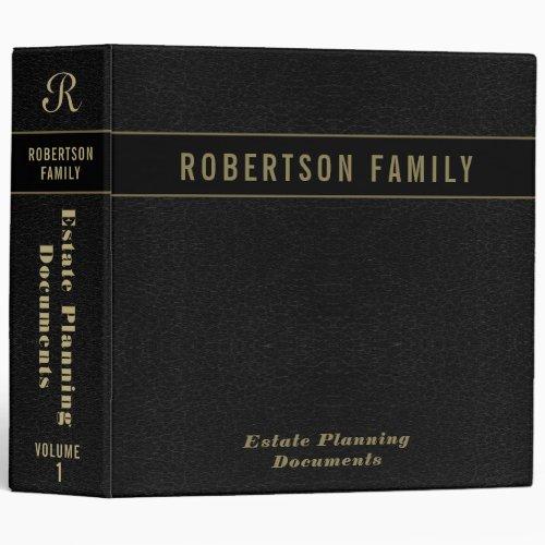 Estate Planning | Black Leather Book Look 3 Ring Binder