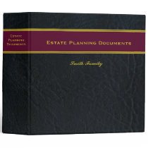 Estate Planning Faux Black Leather binder