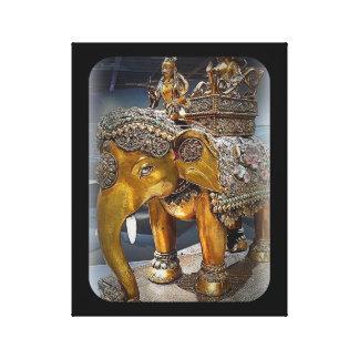 Estatua antigua del elefante impresión en lienzo