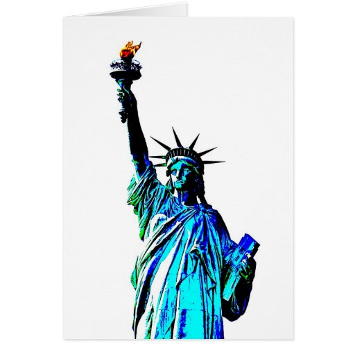 Estatua azul de señora Liberty Tarjeta