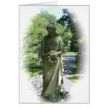 Estatua blanco y negro del ángel del Victorian Tarjeton