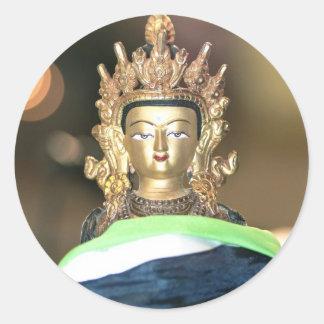 Estatua budista de Chenrezig Pegatina Redonda