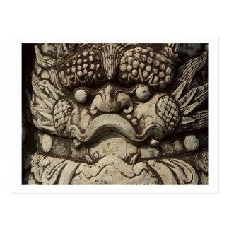 Estatua china del león que guarda el templo budist tarjetas postales