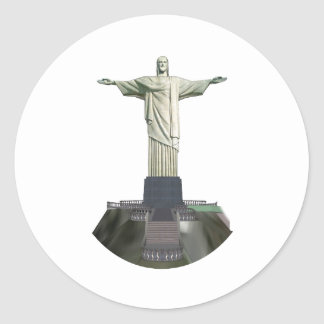 Estatua: Cristo el redentor: modelo 3D: Pegatina Redonda