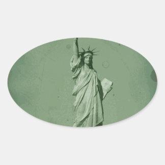 Estatua dañada del efecto de la foto de la pegatina ovalada
