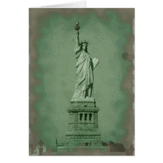 Estatua dañada del efecto de la foto de la tarjeta de felicitación