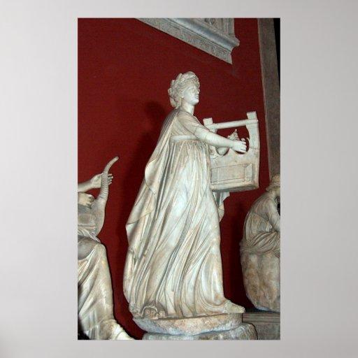 Estatua de Apolo en la impresión del museo de Vati Póster