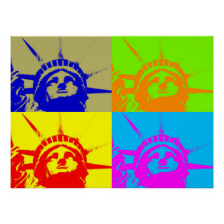 Estatua de arte pop de cuatro colores del poster