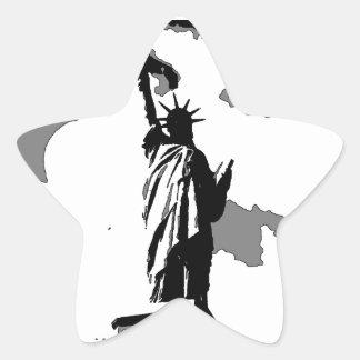 Estatua de arte pop de la libertad calcomanías forma de estrella personalizadas