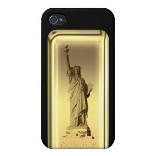 Estatua de barra de oro de la caja de la mota de l iPhone 4/4S carcasa