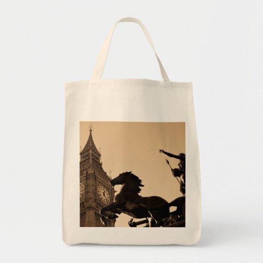 Estatua de Big Ben y de Boudica Bolsa Tela Para La Compra