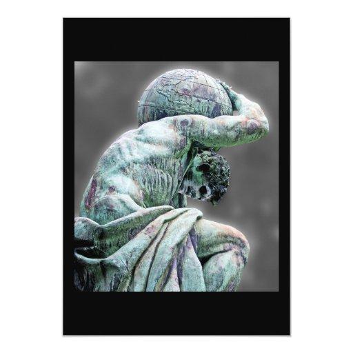 """Estatua de Bismarck, Berlín, atlas griego de dios, Invitación 5"""" X 7"""""""
