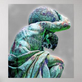 Estatua de Bismarck, Berlín, atlas griego de dios  Póster