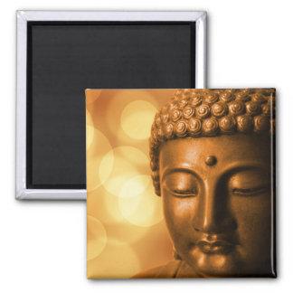 Estatua de bronce de Buda con el fondo de oro de Imán Cuadrado