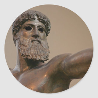 Estatua de bronce de Zeus en Atenas Grecia Etiquetas Redondas