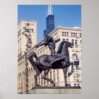 Estatua de bronce india en Chicago Impresiones