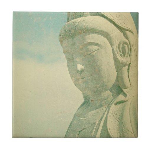 Estatua de Buda Antiqued Azulejo Cuadrado Pequeño