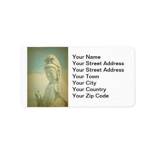 Estatua de Buda Antiqued Etiqueta De Dirección