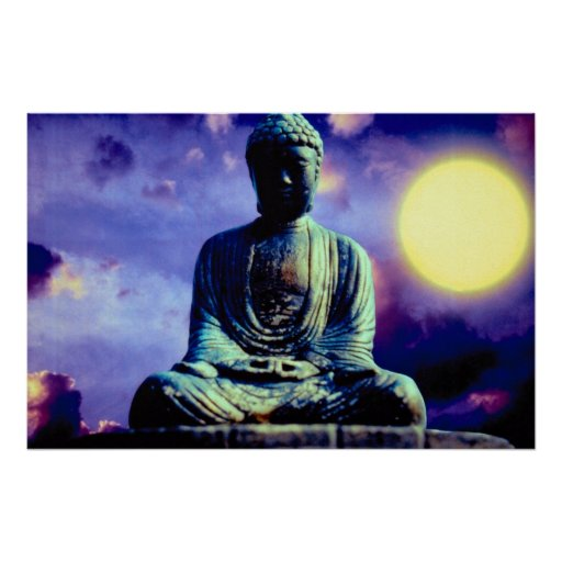Estatua de Buda con el sol Poster