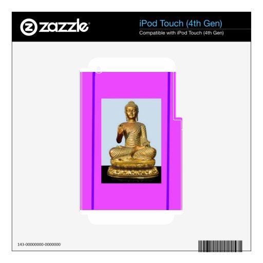 Estatua de Buda del oro en violeta iPod Touch 4G Skin